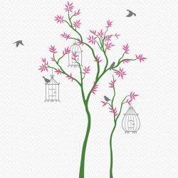 Adesivo de parede árvore com gaiolas e passarinhos