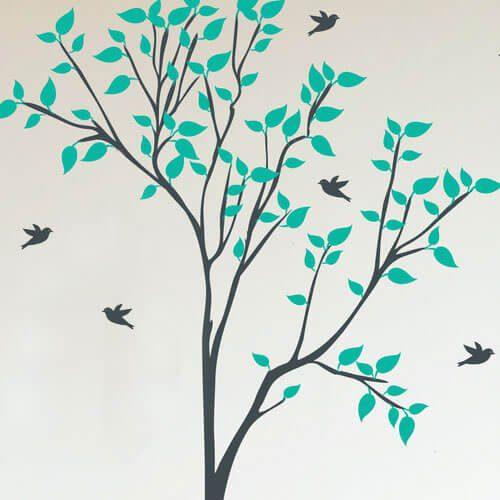 Adesivo de parede árvore com passarinhos