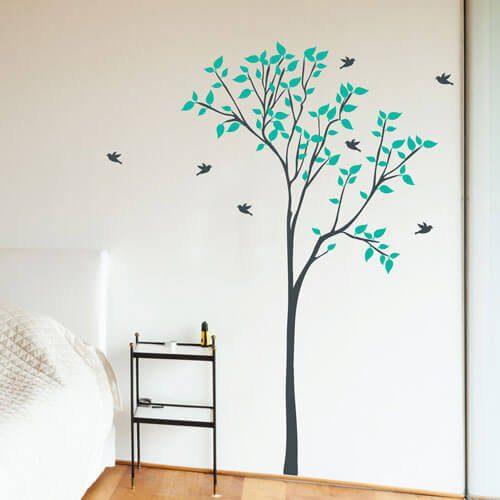 Adesivo de parede árvore com passarinhos voando
