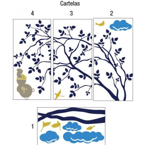 Cartelas - Árvore e ursinho dormindo na nuvem
