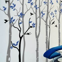 Adesivo de parede árvores na linda floresta