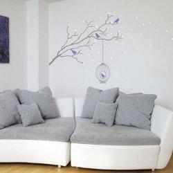Adesivo de parede galho com folhas caindo e gaiola