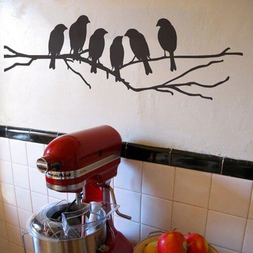 Adesivo de parede galhos com passarinhos
