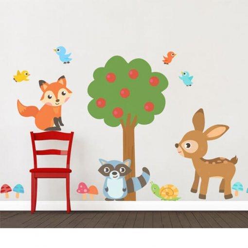 Adesivo de parede infantil bichinhos da floresta