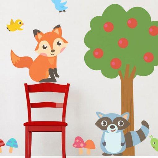 Adesivo de parede infantil bichos da floresta