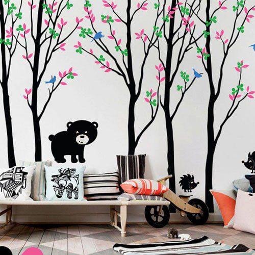 Adesivo de parede infantil árvores grandes com ursinho e passarinhos