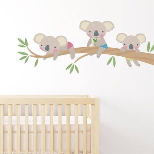 Adesivo de parede infantil bebês coala