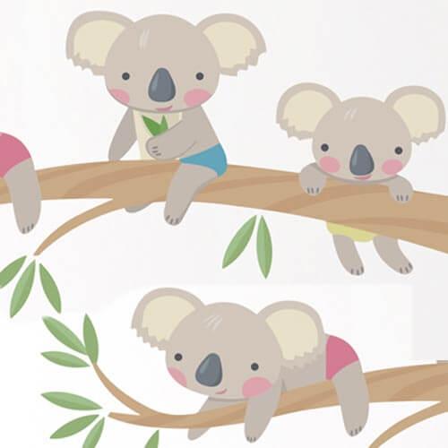 Adesivo de parede infantil coala filhotes