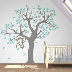Adesivo de parede infantil árvore com macaquinho