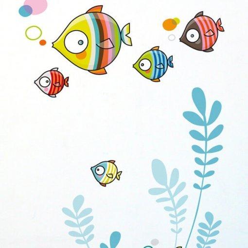 Adesivo de parede infantil peixinhos coloridos