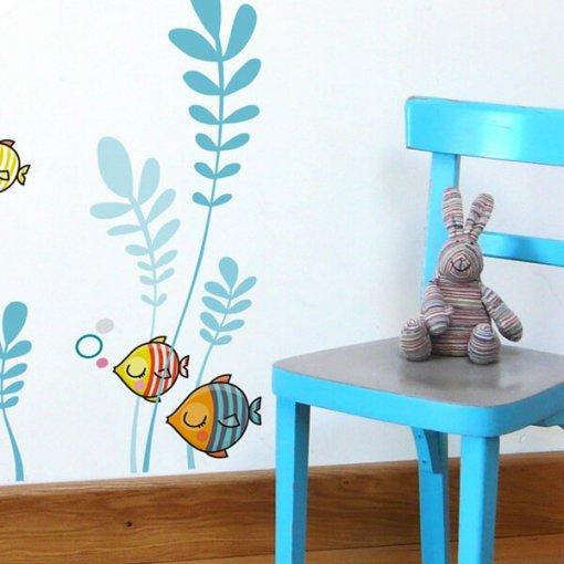 Adesivo de parede infantil peixecodélicos
