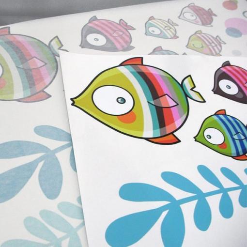 Adesivo de parede peixes coloridos