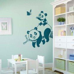 Adesivo de parede infantil panda com filhote