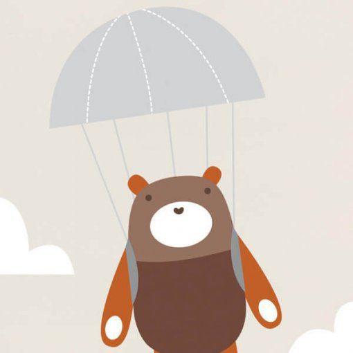 Adesivo de parede infantil ursinho de paraquedas