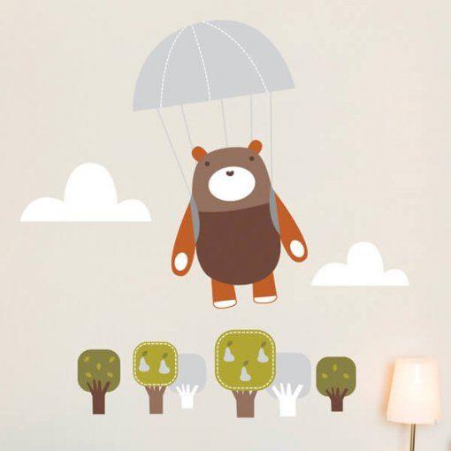 Adesivo de parede infantil ursinho paraquedista