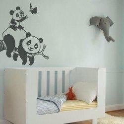 Adesivo de parede infantil ursinho panda com filhote