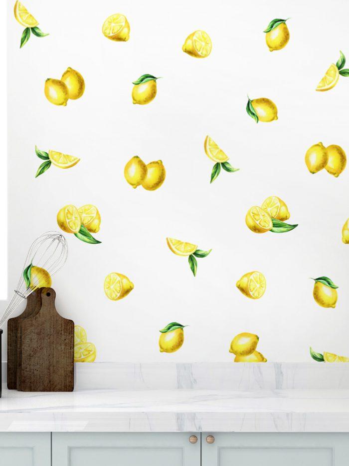 adesivo papel de parede limao siciliano
