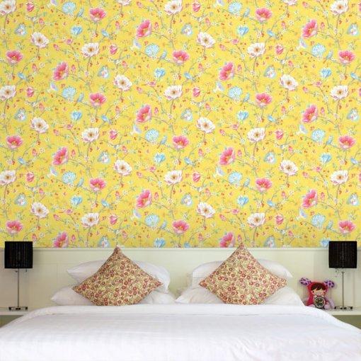 Adesivo papel de parede Floral Amarelo