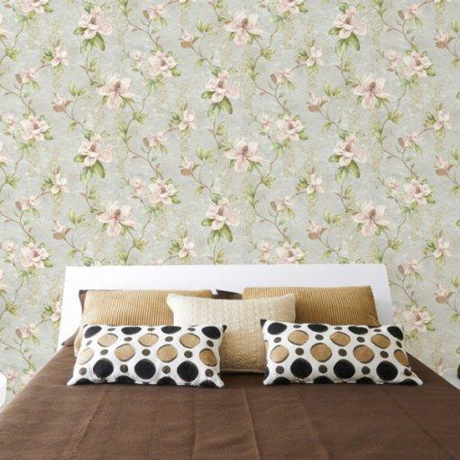 Adesivo papel de parede floral magnólias