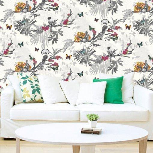 Adesivo papel de parede borboletas e pássaros