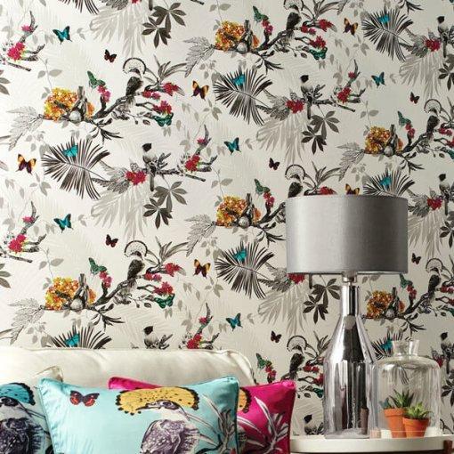 Papel de parede pássaros e borboletas