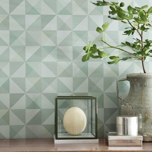 Papel de parede geométrico menta verde