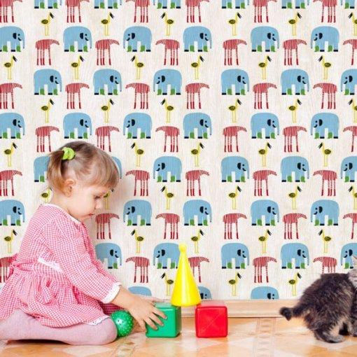 Adesivo papel de parede o elefante de botas