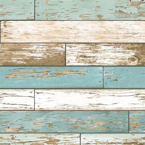 Papel de parede madeira colorida azul