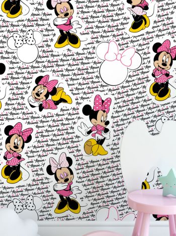 Papel de parede Minnie Mouse fashion rosa