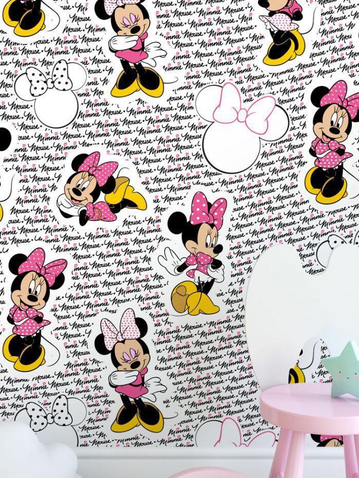 Papel de parede Minnie Mouse fashion rosa