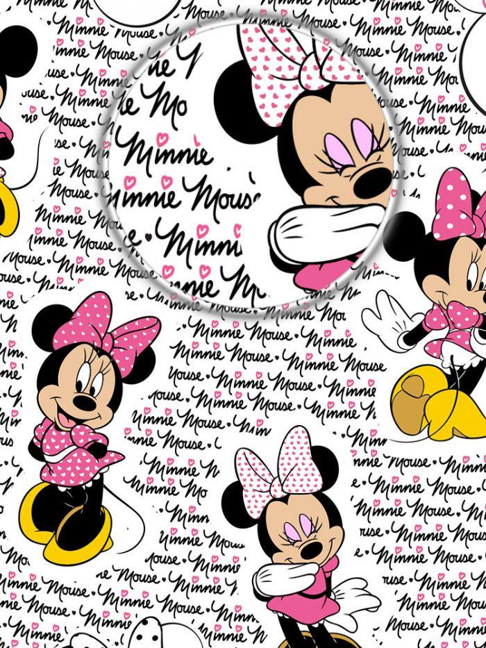 detalhe zoom do papel de parede Minnie rosa