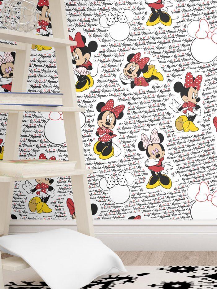 papel de parede Minnie vermelha no quarto