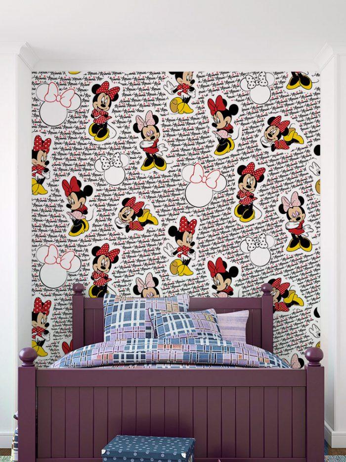 Papel de parede Minnie Mouse fashion vermelha