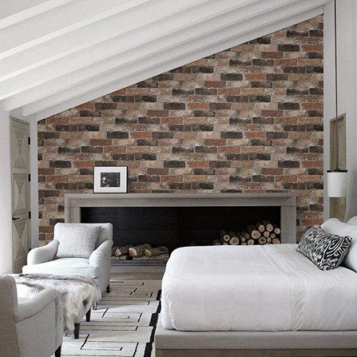 Adesivo papel de parede tijolo rústico