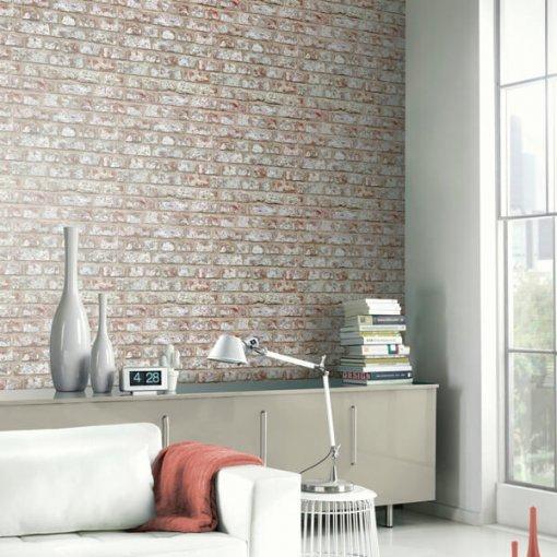 Adesivo papel de parede tijolo rústico creme