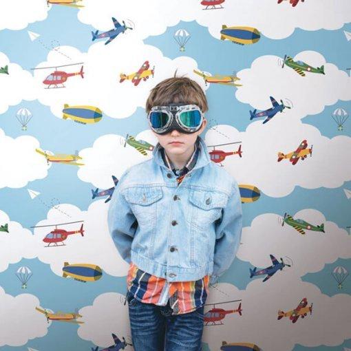 Adesivo papel de parede infantil nuvens e aviões
