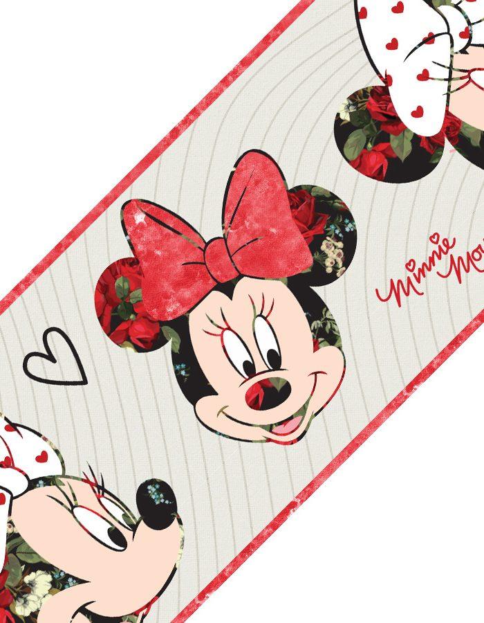 Faixa decorativa de parede Minnie floral