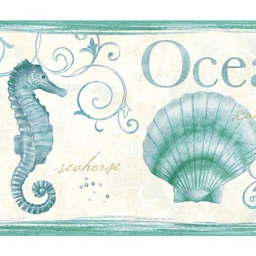 Faixa decorativa animais marinhos verde