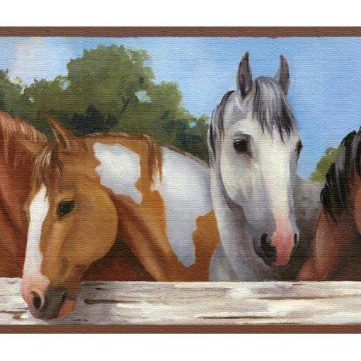 Faixa de parede cavalos na cerca