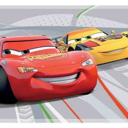Faixa decorativa de parede infantil Carros Disney fundo cinza
