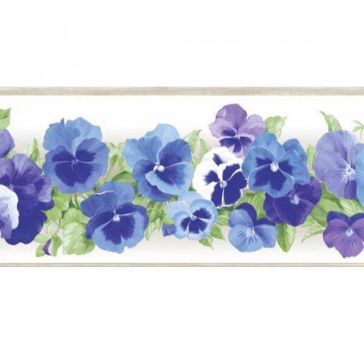 Faixa de parede floral amor-perfeito azul