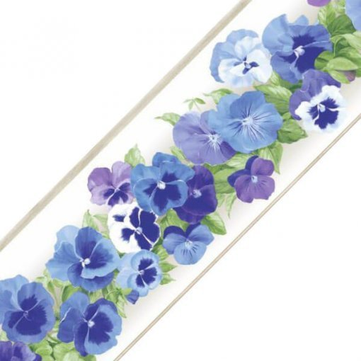 Faixa decorativa floral amor-perfeito azul