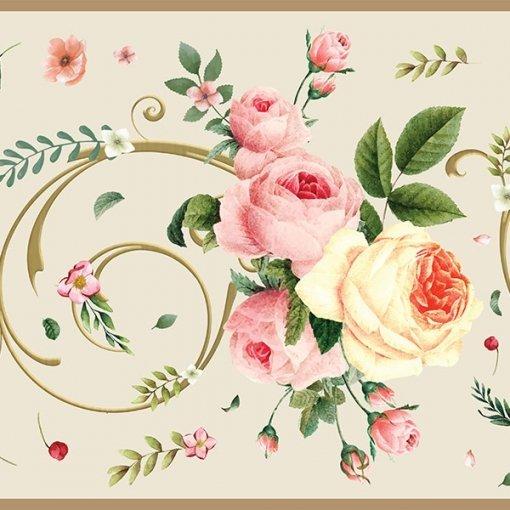 Faixa decorativa floral rosas sortidas fundo creme