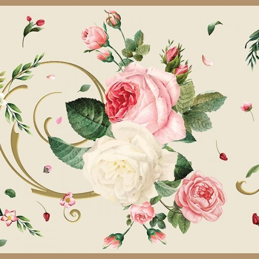 Faixa decorativa floral rosas sortidas fundo claro