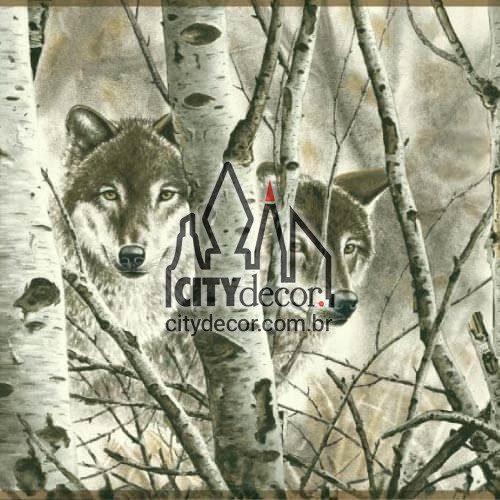 Adesivo Lobos na floresta
