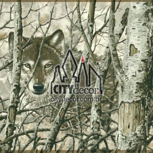 Faixa adesiva border Lobos na floresta