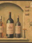 Faixa decorativa de parede para cozinha garrafas