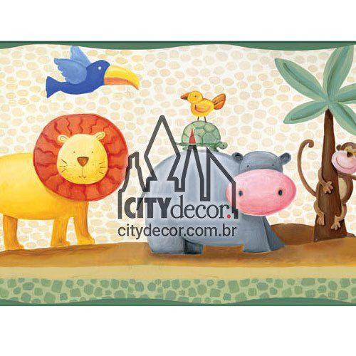 Faixa decorativa para quarto infantil bichinhos safari