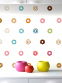Kit adesivo de parede estampa rosquinhas donuts