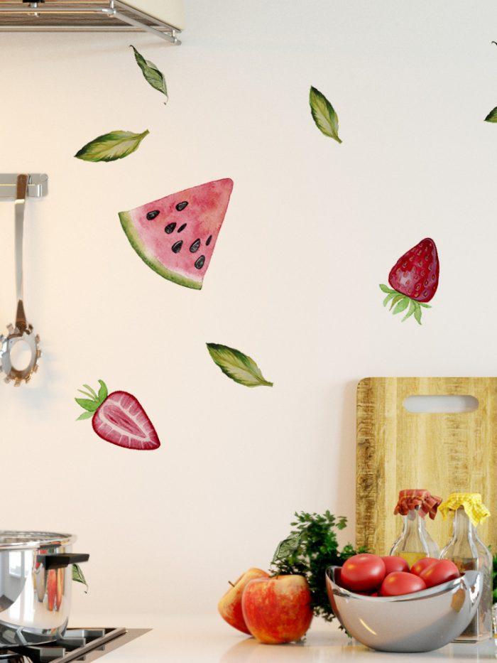 Adesivo de parede frutas vermelhas